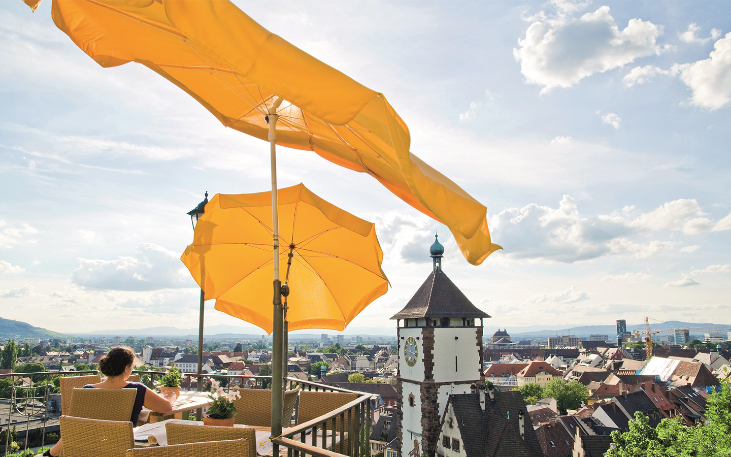 View from the Schlossberg to the Freiburg Swabian Gate in summer